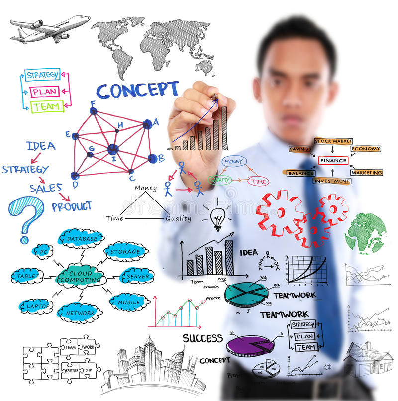 画现代企业概念的商人 库存图片