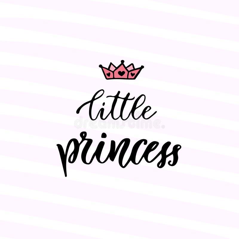 现代传染媒介书法 小公主 手写的词组 孩子T恤杉设计 皇族释放例证