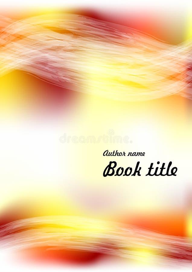 现代传染媒介摘要小册子或书或者飞行物设计模板以黄色,橙色和红色污点和透明重叠 图库摄影