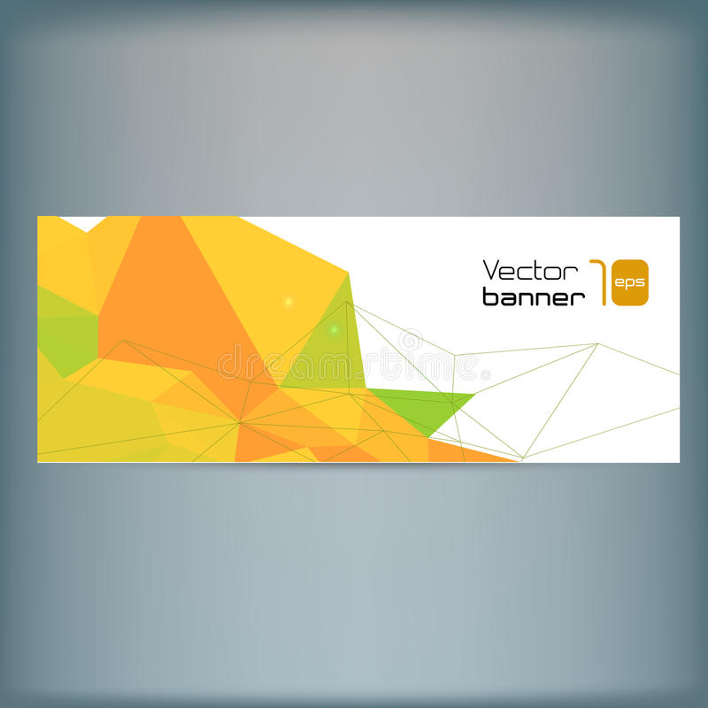现代传染媒介横幅有五颜六色的多角形背景 皇族释放例证