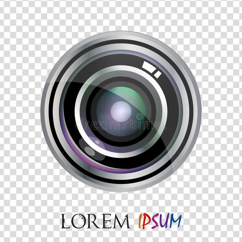 现代传染媒介现实平的透镜商标设计 向量例证