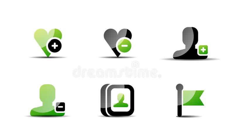 现代传染媒介网绿色&黑象集合 皇族释放例证