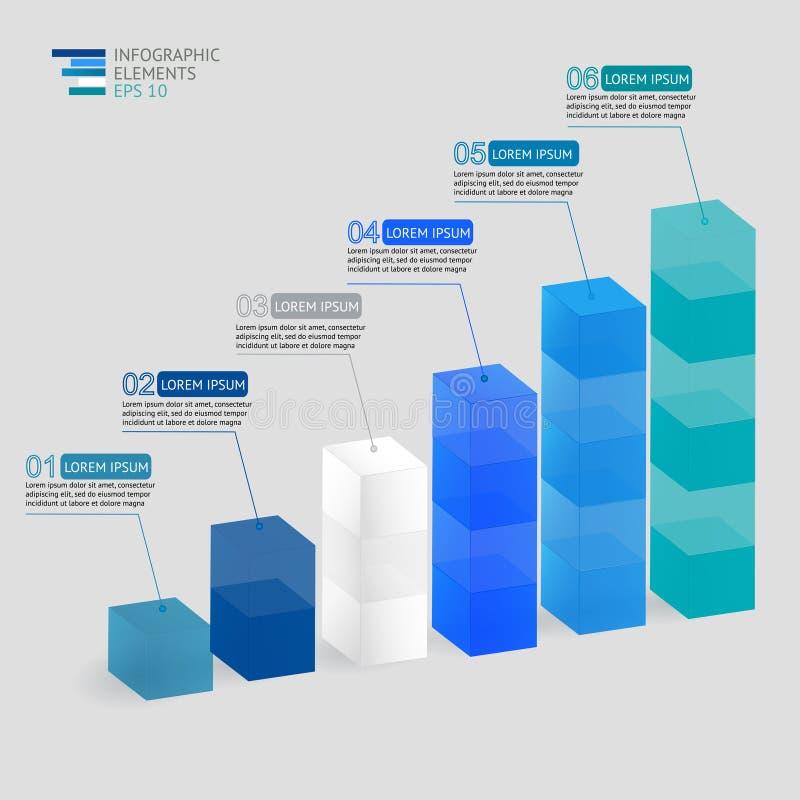 现代传染媒介3D例证infographic为统计、逻辑分析方法、市场报告、介绍和网络设计 库存例证