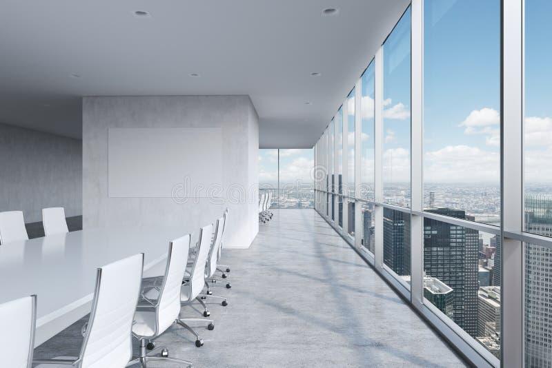 现代全景会议室 一张白色长方形桌和椅子在它附近 皇族释放例证