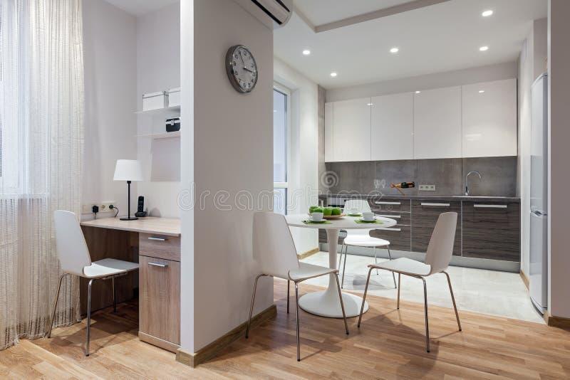 现代公寓内部在斯堪的纳维亚样式的与厨房 免版税库存照片
