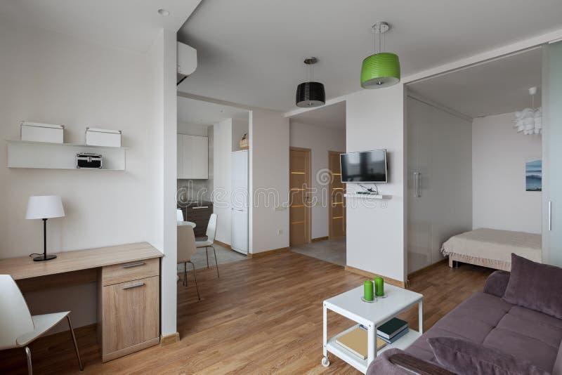 现代公寓内部在斯堪的纳维亚样式的 免版税图库摄影
