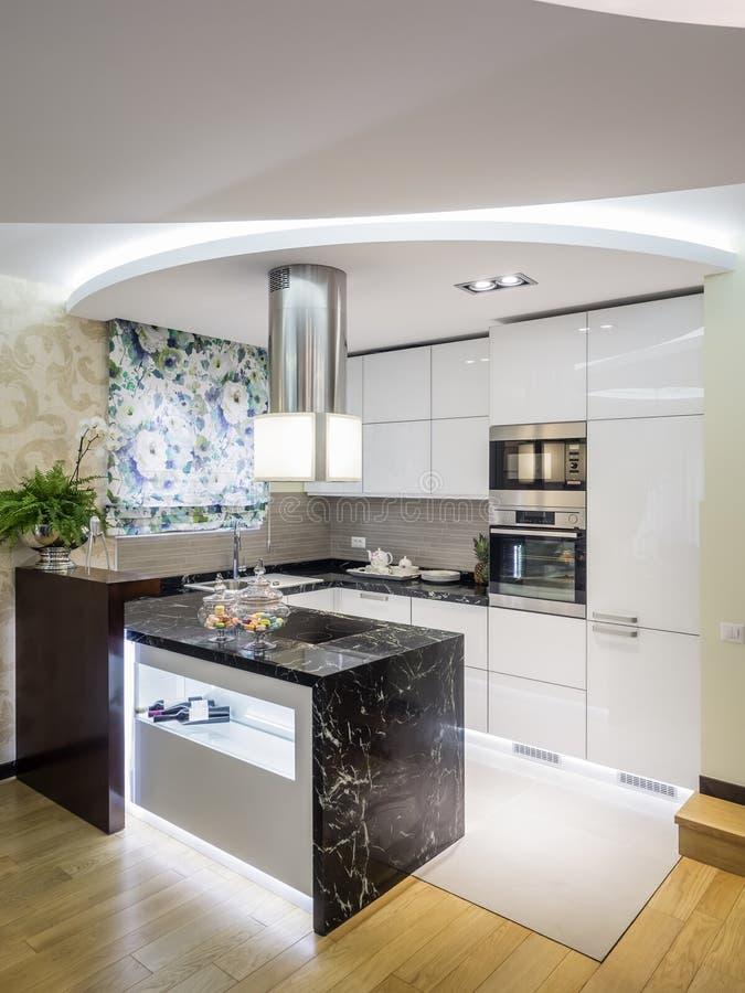现代公寓的厨房 库存照片