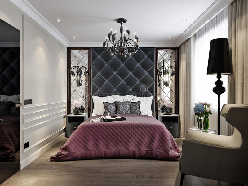 现代经典艺术装饰卧室室内设计 库存例证