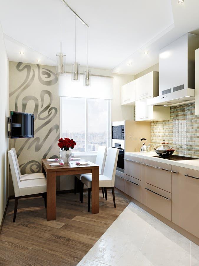 现代典雅和豪华厨房室内设计 免版税库存图片