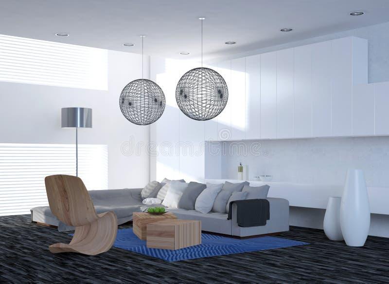 现代典雅的客厅内部 向量例证