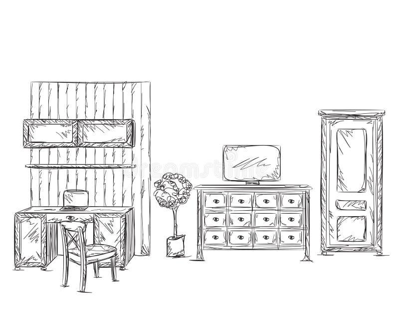 现代内部室剪影 手拉的工作场所 库存例证