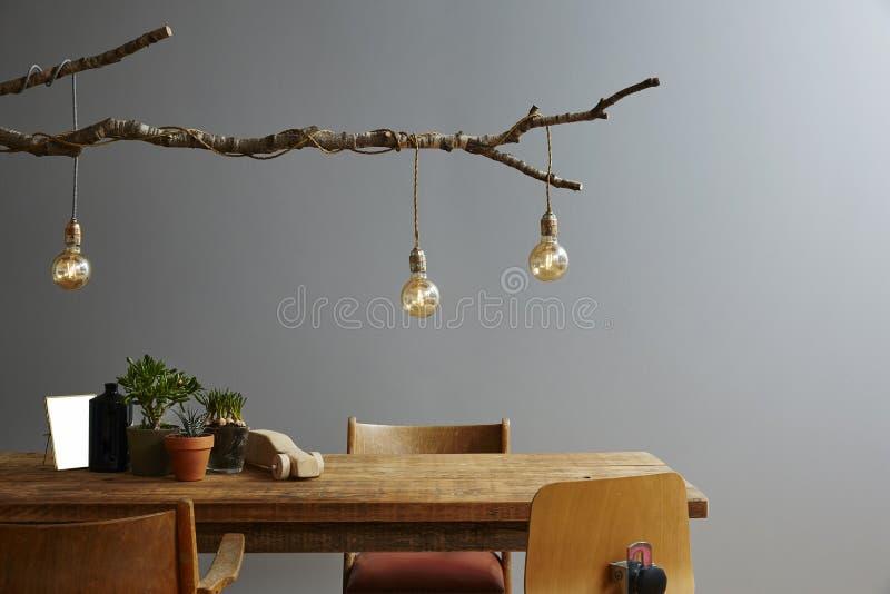 现代内部木家具和设计灯分支和电灯泡 免版税图库摄影