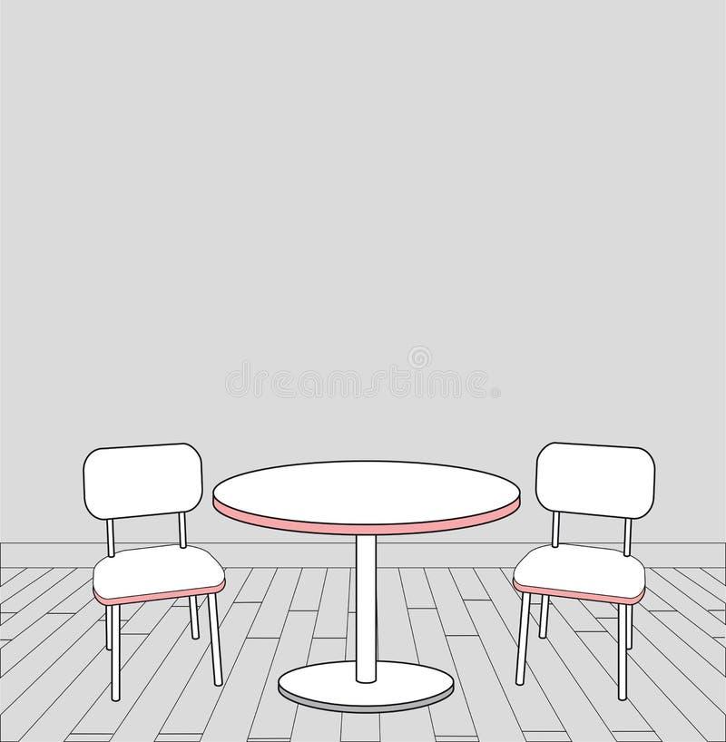 现代内部桌和椅子剪影。传染媒介 向量例证
