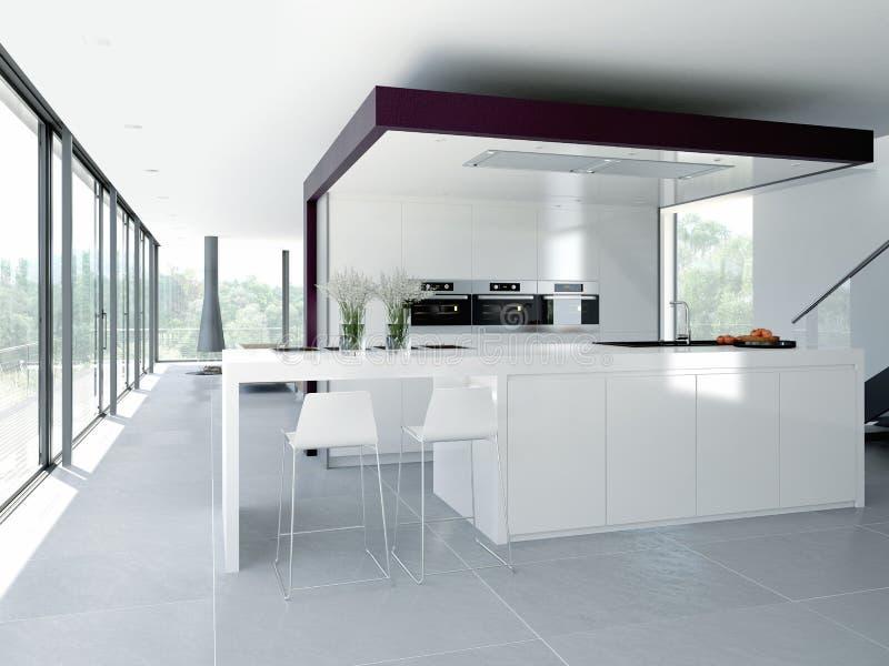 现代内部的厨房 设计观念 3d 免版税库存照片