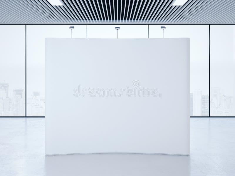 现代内部的白色空白的商业展览摊 3d翻译 向量例证