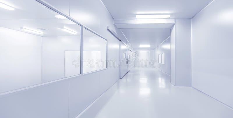 现代内部科学实验室或工厂背景 免版税库存照片