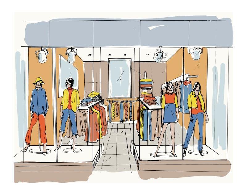 现代内部精品店,购物中心,与衣裳的购物中心 等高剪影例证 向量例证