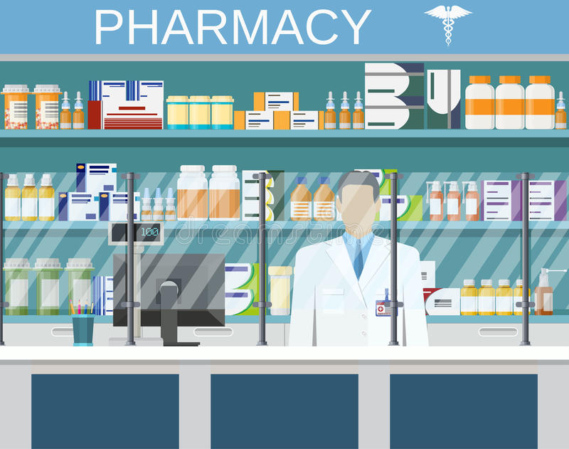 现代内部药房或药房 向量例证