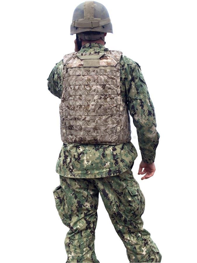 现代军事战士被隔绝 免版税库存图片