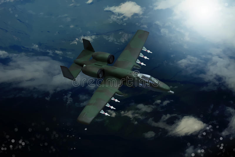 现代军用飞机数字式绘画  皇族释放例证