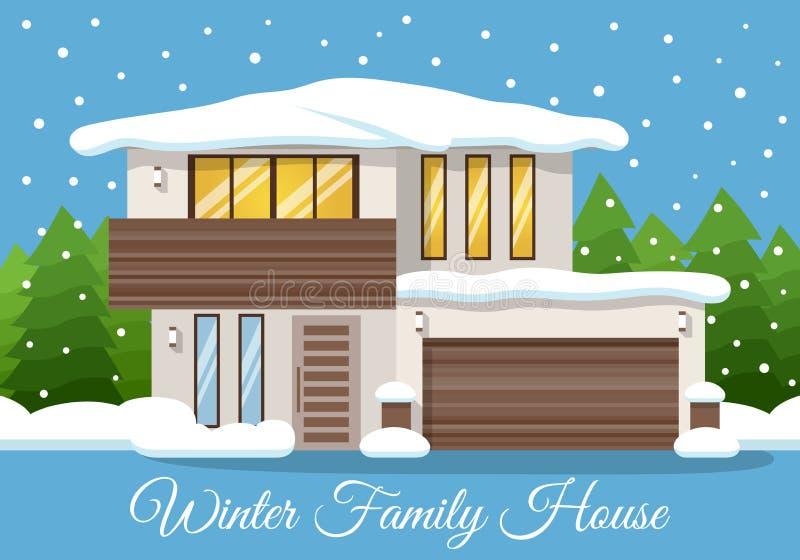 现代冬天家庭议院海报或贺卡 也corel凹道例证向量 库存例证