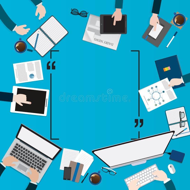 现代创造性的办公室工作区的平的设计例证 向量例证