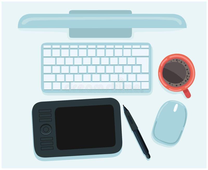 现代创造性的办公室工作区,设计师的工作场所的平的设计传染媒介例证 向量例证