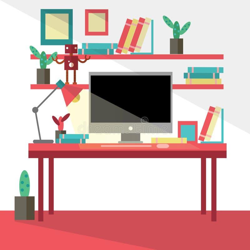 现代创造性的办公室的平的设计传染媒介例证 库存例证