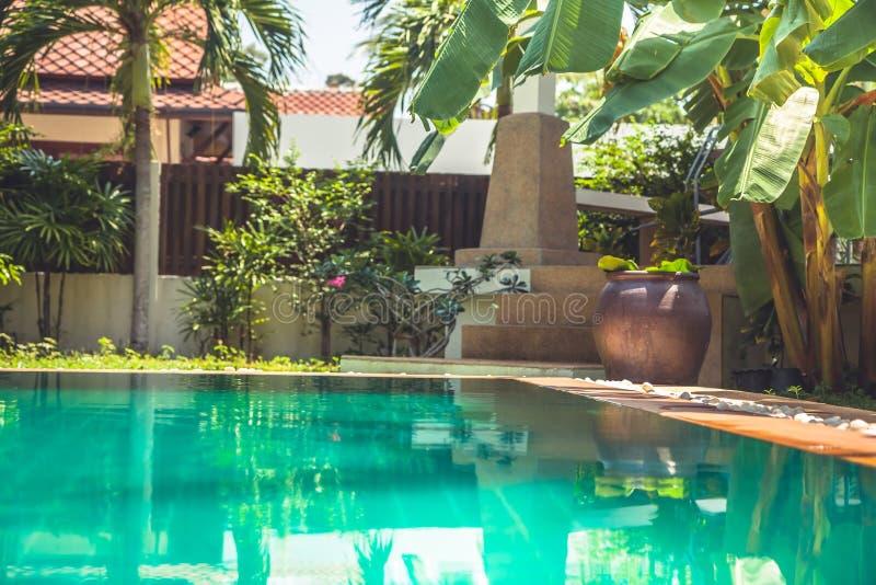 现代别墅的热带庭院与在棕榈树和亚洲装饰元素中的游泳池 库存照片