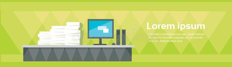 现代办公室内部工作场所空的椅子书桌被堆积的纸张文件全部文书工作 向量例证