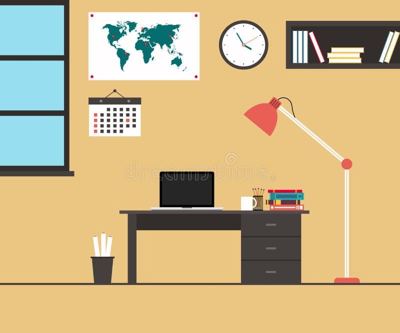现代办公室内部平的设计传染媒介例证 向量例证