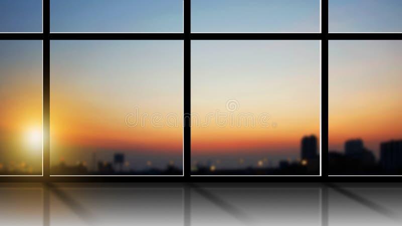 现代办公室内部的企业概念有城市视图 免版税库存图片