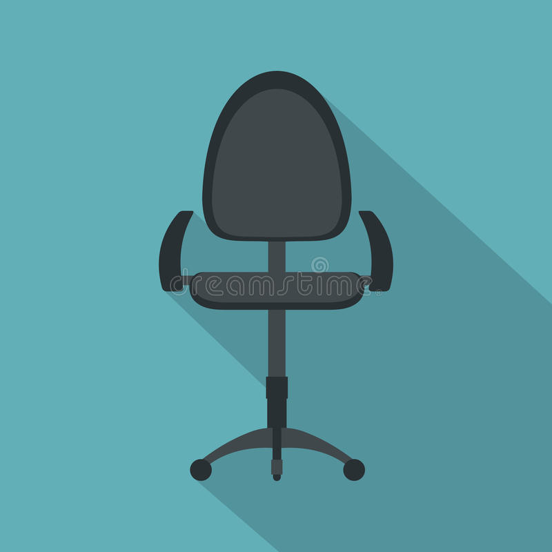 黑现代办公室椅子象,平的样式 向量例证