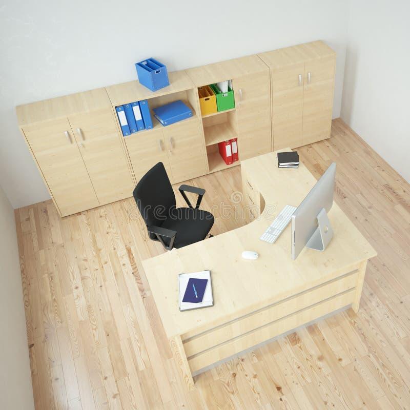 现代办公室顶视图 库存例证