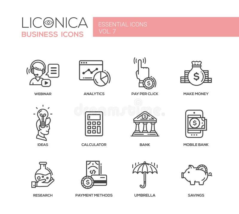 现代财务和行业平的设计象,被设置的图表 库存例证