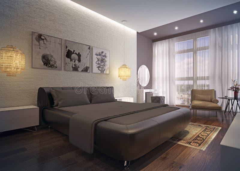 现代卧室内部。 库存例证