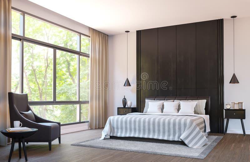 现代卧室用棕色皮革家具和黑木头3d翻译图象装饰 向量例证