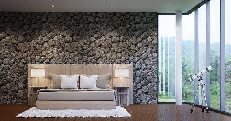 现代卧室的豪华 库存例证