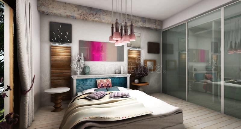 现代卧室 库存例证