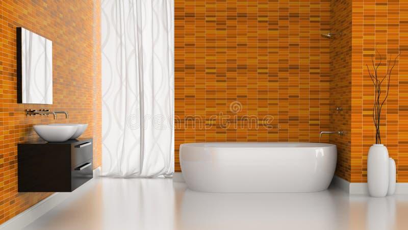 现代卫生间内部有橙色瓦片墙壁的 向量例证
