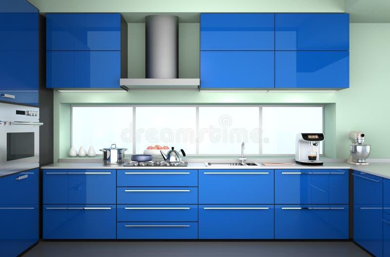 现代厨房内部正面图与时髦的咖啡壶,食物搅拌器的 库存图片