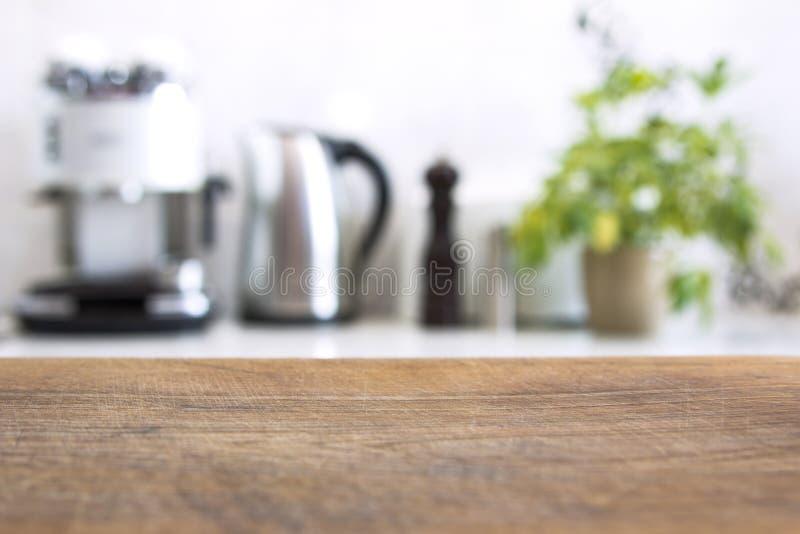 现代厨房内部的被弄脏的图象背景的 免版税图库摄影