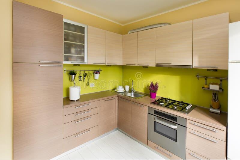 现代厨房,时髦的室内设计 免版税库存照片
