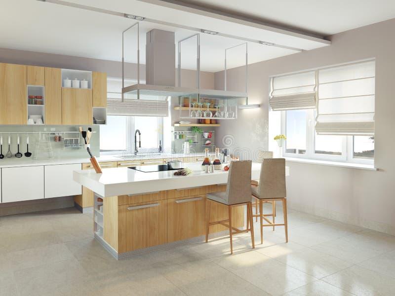 现代厨房 库存例证