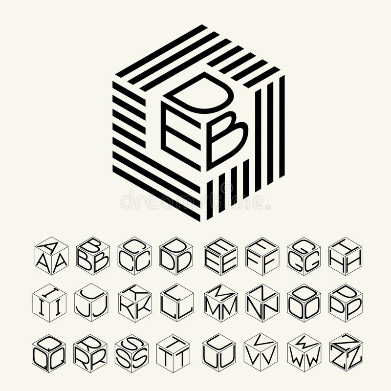 现代组合图案小条的立方体、六角形和被题写的三封信件 加上创造商标的一套信件 向量例证