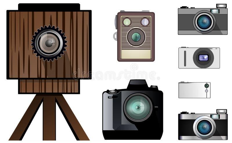 现代和古色古香的照相机 向量例证