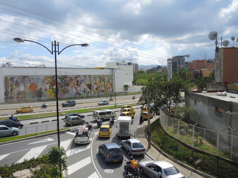 现代和商业区域在布卡拉曼加,哥伦比亚。 免版税库存照片