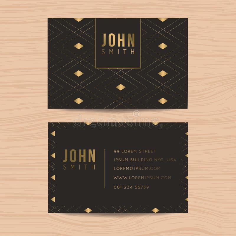 现代和干净的设计名片模板在事务的金黄抽象背景中 抽象背景名片公司设计 向量例证