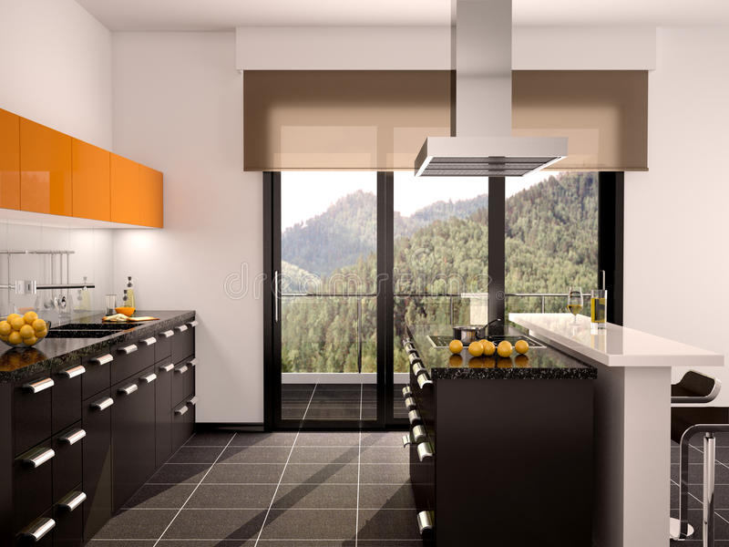 现代黑和橙色厨房内部的例证与一个大窗口的 向量例证