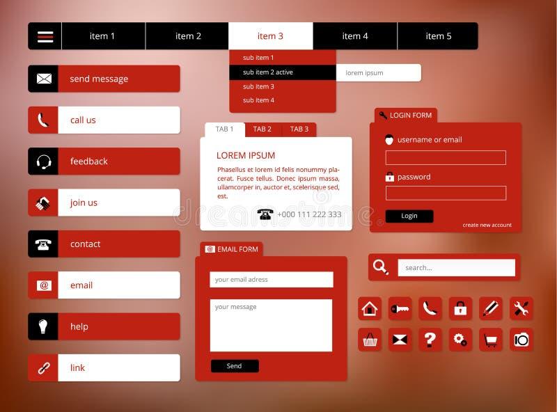 现代黑和红色网ui元素 库存例证